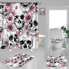 Skull Doormat Door Bath Mat Toilet Cover Rugs Shower Curtain Bathroom Decor