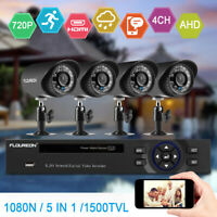 4CH CCTV Security Camera System HD 720P Outdoor Home Video Surveillance DVR Kit