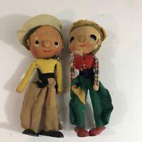 Rare Vintage Napco Japan Doll Set cloth felt wooden shoes Figurines  Lot Of 2
