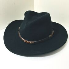 Serratelli Black Cowboy Hat Pure Wool Size Medium