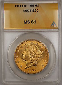 1904 $20 Liberty Double Eagle Gold Coin ANACS MS-61 (Better) SB