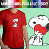 Peanuts Snoopy Charlie Brown Comics Cute Heart Love Hug ‎Mens Tee V-Neck T-Shirt