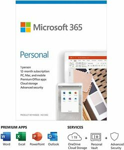 Microsoft Office 365 Personal | 1 User | 1 Year Subscription | PC/Mac/Tablet Key
