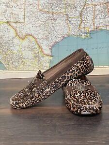 Ralph Lauren Carley II Shoes Leather Driving Loafers Moc Leopard sz 7.5B