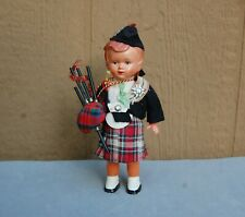 "Scotland Bag Piper Doll Vintage Scotsman Scot Scottish Toy Toddle 6 1/2"" no Walk"