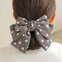 Cute Women Big Bow Hair Clip Grips Pin Dot Chiffon Barrettes Hair Accessories N
