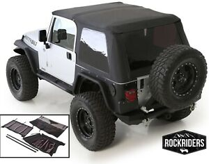 1997-2006 Jeep Wrangler Frameless Bowless Soft Top w/ Tinted Windows Black