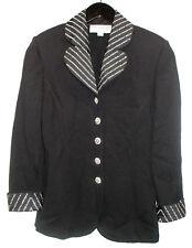 ST. JOHN EVENING Black Crystal Pearl Studded Knit Jacket sz 4 Rhinestone Buttons