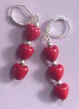 Hearts Cherry Red Howlite earring Sp leverback handcrafted