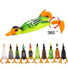 Top Water Duck Frog Lure Propeller Flipper 9.5cm 12g Soft Lure Weedless for Bass