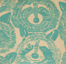Rocky the Raccoon Turquoise on light tan yard Alexander Henry cotton fabric