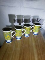 4 Mid Century Footed Coffee Smug Mugs Royal Crown Arnart Retro Swirls Rare