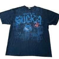 Whats Up Sucka Tootsie Roll T Shirt Men's Size XL AAA Big Graphic Navy Blue Owl