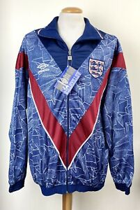 VINTAGE ENGLAND 1995 UMBRO *OLDSTOCK* TRACKSUIT JACKET & PANTS SHIRT LARGE