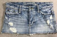 American Eagle Ripped Destroyed short Denim Blue Jean Mini Skirt size 0
