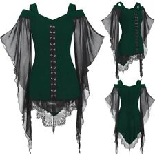 Women Gothic Criss Cross Lace Insert Sleeve T-shirt Plus Size Tops Blouse Tunic