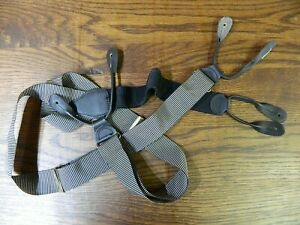 Men's Suspenders NO Name Silver / Black  Black Leather  New W/out TAGS MS254