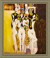 Beethoven Frieze by Gustav Klimt 85cm x 73cm Framed Ornate Silver