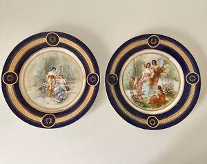 Pair of Antique Royal Vienna Porcelain Classical Cabinet Plates