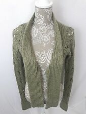 LAURIE B Midriff length Green Chunky Knit Women's Open Top Sweater Size Small