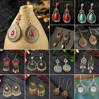 Vintage Boho Turquoise Ethnic Tassel Beads Hook Dangle Earrings Women Jewelry