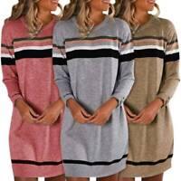 Women Sweater Mini Dress Pullover Top Long Sleeve Autumn Winter Loose Sweatshirt