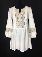 LOGO Lori Goldstein XS Tunic Top White Taupe Sage Embroider High Low Boho Shirt