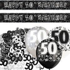 Negro Plata Glitz 50º cumpleaños Banner Fiesta Decoración Pack Kit Set