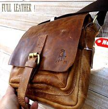 Genuine Vintage hard Leather Shoulder Bag Messenger man i pad Cowhide Bull new 9