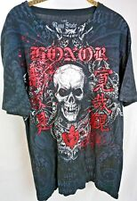 Raw State by Affliction Mens Shirt Size L Large Bke The Buckle Black Skull Top