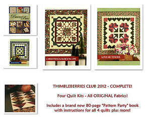 RARE-Thimbleberries Club 2012 Pattern Party - 4 COMPLETE KITS for the Full Year!