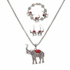 Pendant Necklace Bracelet Earrings Set Women Elephant Bohemia Chunky Charm Chain