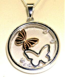 """Silver FLOATING PENDANT BUTTERFLY 925 STERLING SILVER ROSE GOLD  18"""" Chain"""