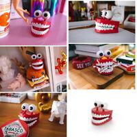 FA04 Plastic+Electric Windup Teeth Clockwork Teeth Toys Flashing Practical Joke