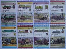 1986 GRENADINES Set #6 Train Locomotive Railway Stamps (Leaders of the World)