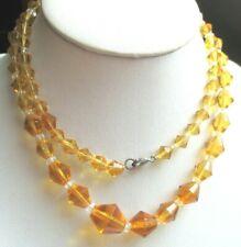 Ancien collier de perles de cristal couleur ambre jaune bijou vintage 309