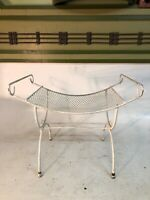 Mid Century Modern Mesh Metal Stand Wire Table Bustle Seat Curved 4 Leg  Chair