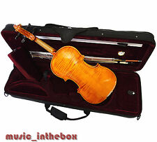 New  4/4 Hand-Made Flamed Back Violin +Bow +Rosin + Square Case <Limited>