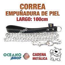 CORREA DE PERRO EMPUÑADURA PIEL NEGRA Y CADENA METÁLICA 100cm Largo L17 2618
