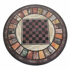"""24"""" marble chess game Table Top pietra dura multi stones inlay work"""