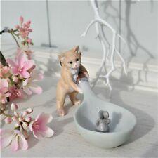 Clayre & Eef Deko Katze mit Maus auf Löffel Shabby Landhaus Handbemalt 17x6x7 cm