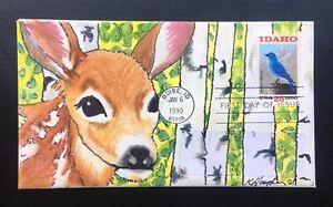 Idaho Statehood #2439 FDC, Kate Hayden cachet art, Elk fawn