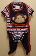 New Duck Duck Goose Lil' Monkey Baby Bodysuit, Pants & Bib 3 pc. Set 3-6 months