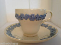 ❤WEDGWOOD QUEENSWARE DEMITASSE CUP & SAUCER ETRURIA SMOOTH BLUE ON WHITE TEACUP❤