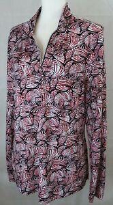 Nivo Mesh Sleeve zip Pullover Womens XL red black EUC