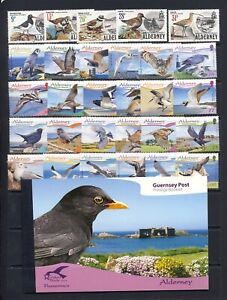 Bird on stamp collection from Alderney mnh vf sets and prestige booklet 105.50