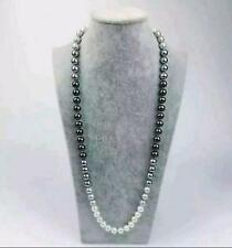 10-11mm natural Australian south seas black white gray pearl necklace 38Inch 14K
