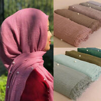Fashion Women Ladies Crinkle Scarf Shawl Muslim Hijab Head Wrap Pearl Beads Soft