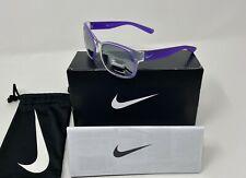 NIKE GOLF Kids' SPIRIT Sunglasses, Clear/Purple Frame, Silver Mirror ZEISS Lens