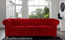 Modern Velvet Red Sofa Chesterfield Style Tufted Buttons Scroll Arm Rest